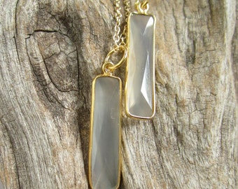 Bar Necklace Gray Chalcedony Gemstone Pendant 14K Gold Fill