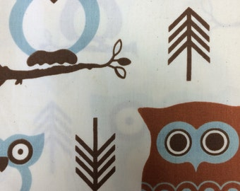 Hooty in Natural - cototn quilitng fabric-BTY