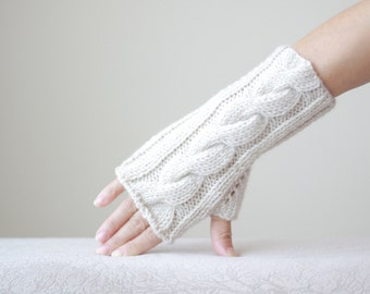 Women fingerless gloves, Beige fingerless gloves, Knit mittens for women, Beige gloves fingerless, Beige wrist warmers