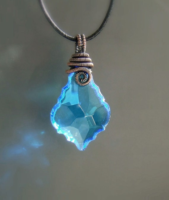 Turquoise blue necklace - baroque glass rustic copper jewelry