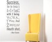 Einstein Success Quote Wall Decals Inspirational Wall Quote College Dorm Decor Apartment Wall Decal Math Formula Decal Office Wall Decor