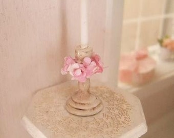 Romantic shabby candlestick - 1:12 (1 inch) dolls house dollhouse miniature