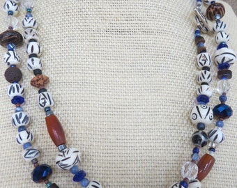 """Long Strand Beaded Necklace with Bone, Wood and Glass Beads-Single or Double Strand 40"""" Long"""
