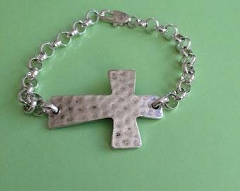 Silver Cross Bracelet - Custom Order