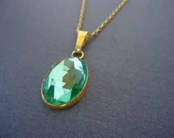 Gold Czech Crystal Pendant