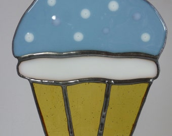 Stained Glass Cupcake with Baby Blue Icing