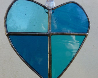 Turquoise Heart in Stained Glass Suncatcher Light Catcher
