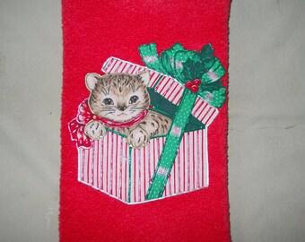 Appliqued Christmas Hand Towel, Christmas Kitty Bathroom Hand Towel, Christmas Present Kitty Kitchen Towel, Red Christmas Hand Towel