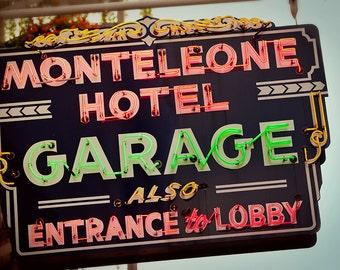 Monteleon Hotel Neon Sign - New Orleans Art - Retro Home Decor - New Orleans Photography - Garage Decor - Fine Art Photography
