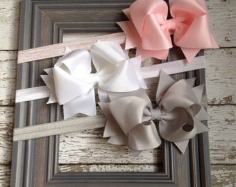 Boutique Baby Girls Set of 3 White Grey Pink Large Hair Bow on Elastic Headband..Perfect for Photo Props holidays birthdays