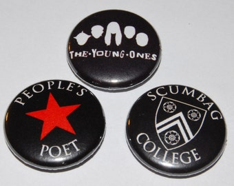 The Young Ones Button Badge 25mm / 1 inch - 3 Designs Rik Mayall Ade Edmondson