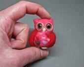 Pretty Hot Pink Miniature Valentine's Day Needle felted Owl baby felt bird