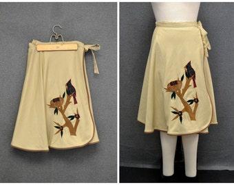 1970s Tori Totes Blackbird Wrap Skirt