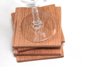 square oak coasters - set of 4
