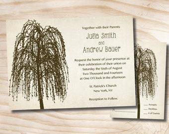 WILLOW TREE INITIALS  Rustic Wedding Invitation Response Card Invitation Suite