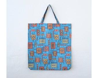 15 DOLLAR SALE! // printed cotton 1960s mod tote bag - market shopper bag / Italy - geometric print tote bag / vintage 60s print tote