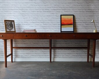 """Bloom Desk 96"""" - Solid Cherry - Antique Cherry Stain - Support Base"""