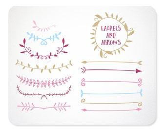 Arrow Clipart | Laurel Clipart | Valentine Clip Art | Arrow Clip Art |  Digital Clip Art | Vector Graphics | Tribal Clip Art
