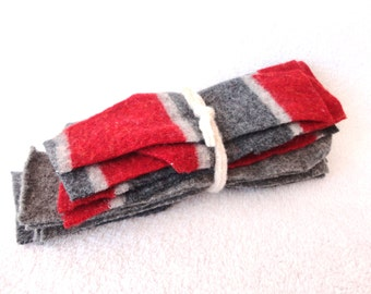Destash Wool Scraps RED & GRAY Coordinating Felted Sweater Wool Scrap Pack Wool Pieces Destash by WormeWoole