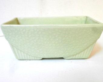 USA Pottery Planter Lime Green Circa 1950s