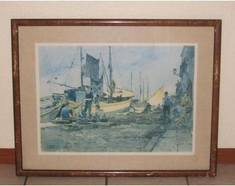 Vintage Old San Francisco Scenery Water People Boat Painting by August Carotto