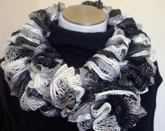 Black and White Infinity Ruffled Scarf