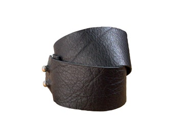 Raw Double Wrap Leather Bracelet Bangle Cuff, matching accessories, made to fit