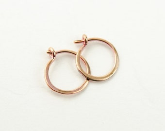 Tiny Rose Gold Hoop Earrings, Classic Rose Gold Hoops, Rose Gold Plated Wire, Minimalist, Modern Jewelry, Hand Made, Christmas Gift, EAR001