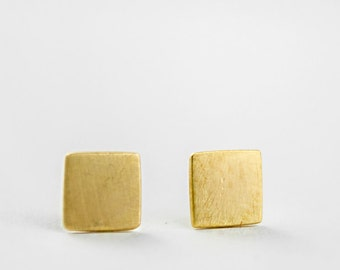 Square Stud Earrings, Sterling Silver, Gold Plated, Tiny Square Studs, Simple Geometric Jewelry, Modern Lunaijewelry, Gift for Her, STD011