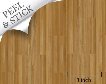 Quarter Scale Wallpaper-Peel and Stick-Oak Flooring