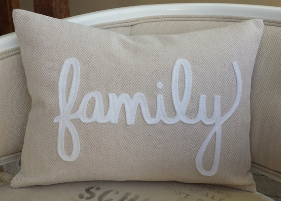 Items similar to Tan chevron pillow, choice of white felt wording (love, relax, family ...