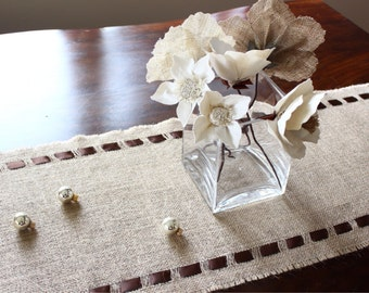 Ivory-Colored Burlap Table Runner - Elegant Holiday Table Accessory - Fresh Decorating Idea for Your Home