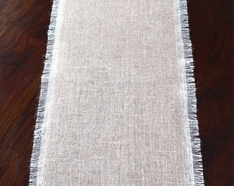 Burlap Table Runner - Ivory & Natural Burlap Table Runner - Elegant Modern Table Decor