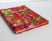 Groovy 70s 80s Photo Album Pink and Red Flowers Satin Cover