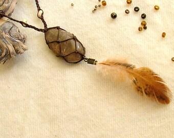 Smoky rutilated Quartz necklace ,goddess pendant beaded feathery necklace hippie stylish stone jewel