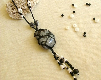 Black and white snowflake obsidian stone necklace - beaded hippie necklace