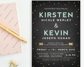 Modern, Chalkboard Black, Mint & Gold Glitter Wedding Invitations