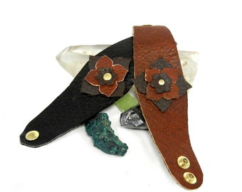 Leather Flower Bracelet in Brown or Black Buffalo