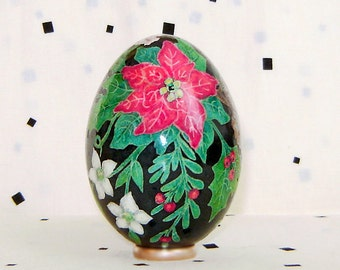 RESERVED for N. Poinsettia. Goose egg. Pysanka.