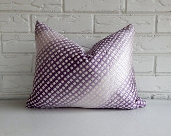 CLEARANCE Purple Ombre Shibori Pillow Cover - Repurposed Vintage Japanese Kimono Fabric - Lavender Purple White Gradation