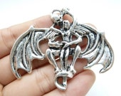 2pcs 54x66mm Antique Silver Huge Skull Ghost And Angel Charm Pendant c4150