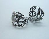 10pcs 8mm Antique Silver Brass Cameo Cabochon Filigree Base Setting Rings c4500