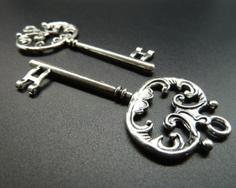 5pcs 30x70mm Antique Silver Filigree  Key Charm Pendant c3579