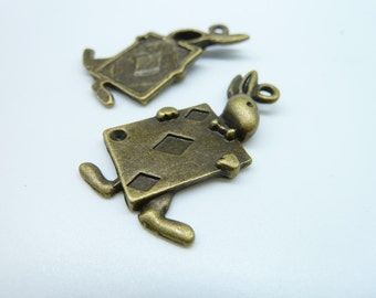 10pcs 21x35mm Antique Bronze Alice Rabbit  Charm Pendant c3765