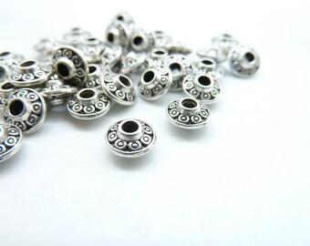 60pcs 3.5x6.5mm Antique Silver Spacer Charms Pendant  c5422