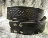 Customizable 2.25 inch, Large Celtic Design Leather Pirate, or Kilt Belt
