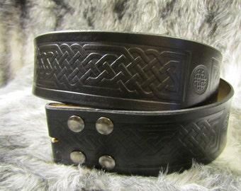 Customizable 2.25 inch, Large Celtic Design Leather Pirate, or Kilt Belt