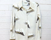 Vintage Train Blouse Shirt Novelty Print Collared Shirt Stripes Small Medium 60s 70s Mid century