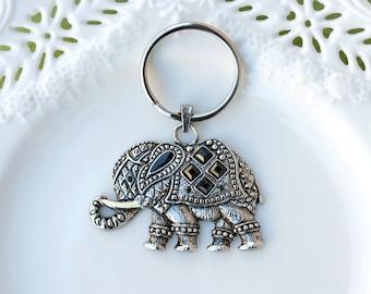 Elephant Keychain, Silver Elephant Keychain, Animal Keychain, Elephant Keyring, Key Accessories, Silver Elephant Key ring