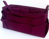 Extra large size Purse organizer  with laptop padded case - Bag organizer insert in Dark Purple/Quetsche fabric